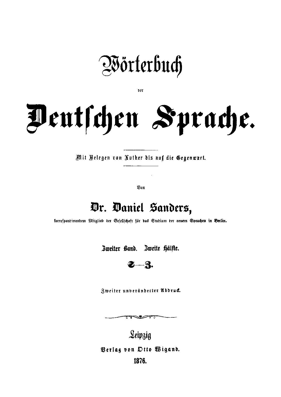 sanders daniel woerterbuch der deutschen sprache zweiter band 2