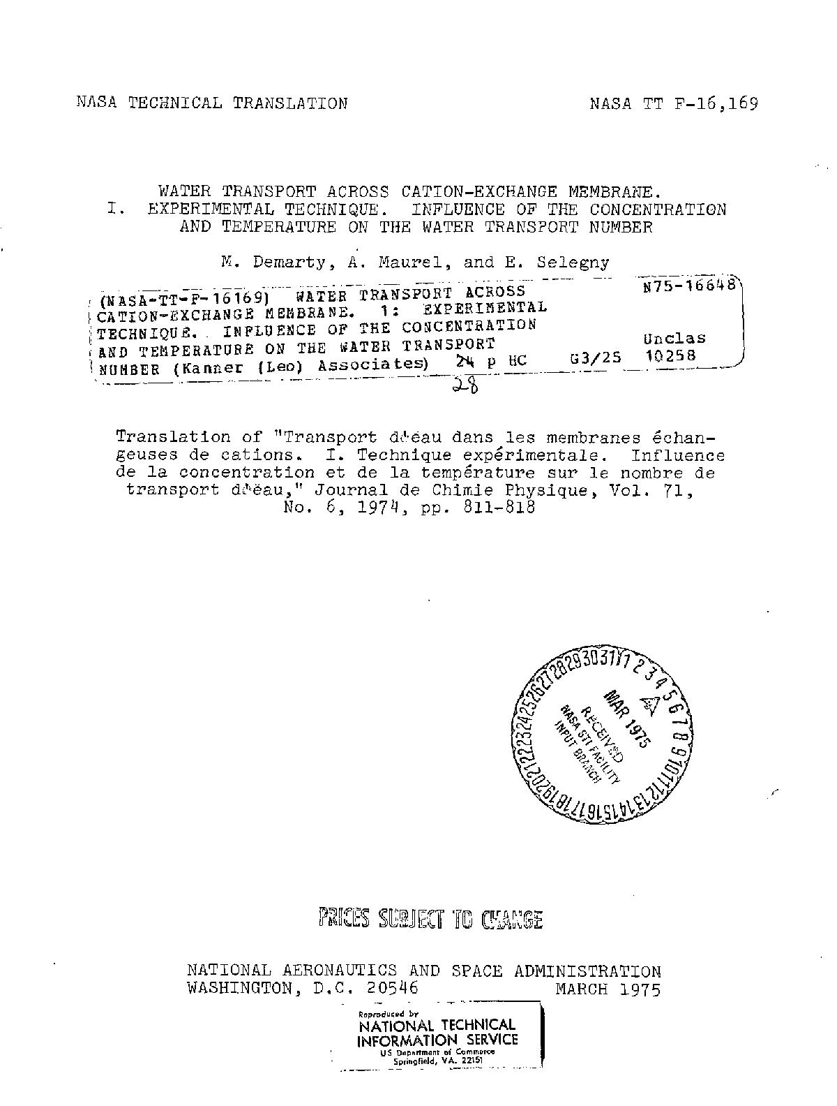 M. DEMARTY - WATER TRANSPORT ACROSS CATION-EXCHANGE MEMBRANE. 1: EXPERIMENTAL TECHNIQUE. INFLUENCE OF THE CONCENTRATION AND TEMPERATURE ON THE WATER TRANSPORT NUMBER