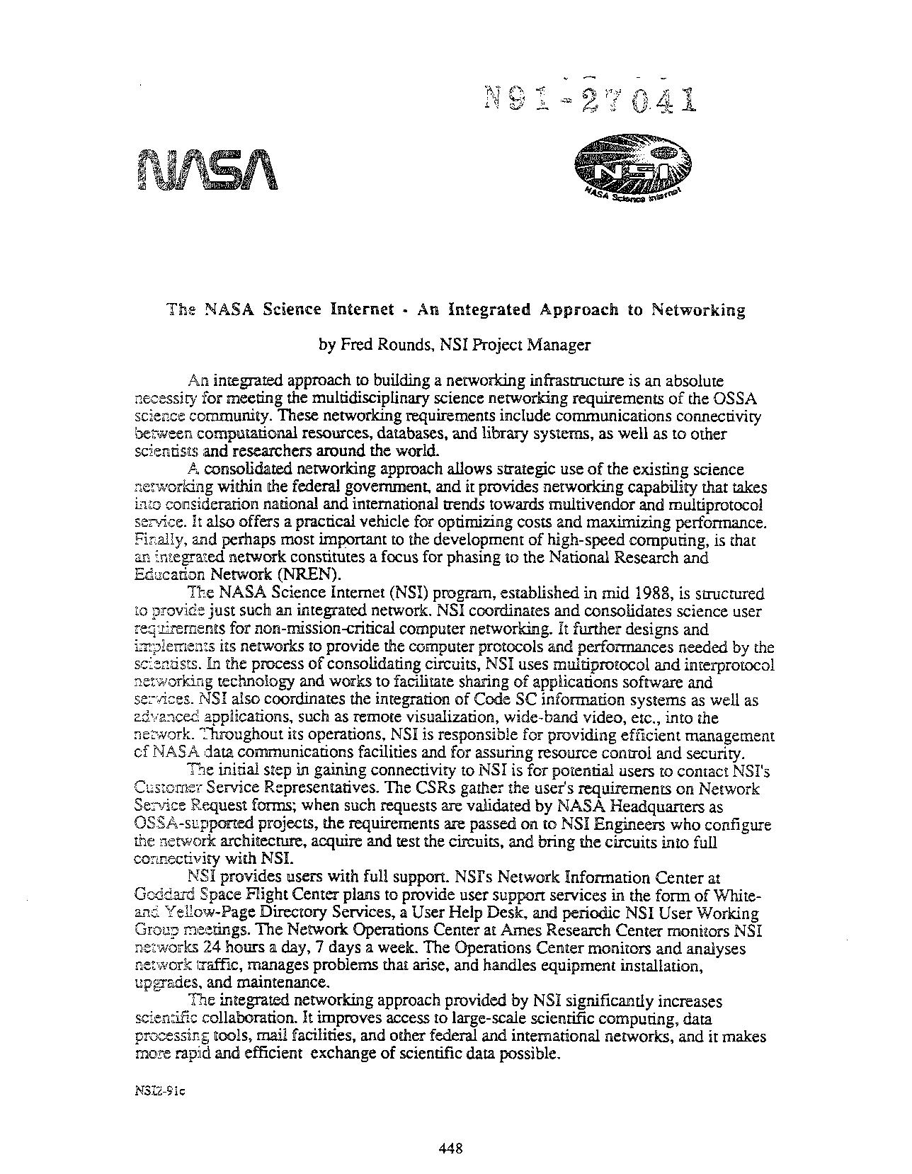Fre Rounds - The NASA Science Internet: An integrated approach to networking