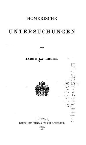 Download Homerische Untersuchungen