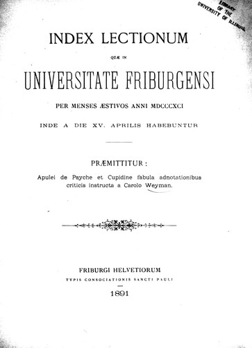 Apulei de Psyche et Cupidine fabula adnotationibus criticis instructa