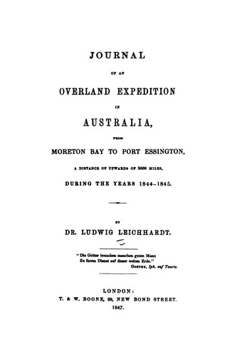 Download Journal of an overland expedition in Australia from Moreton Bay to Port Essington