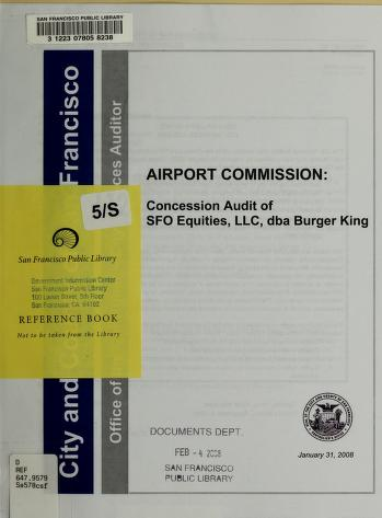 Cover of: Airport Commission | San Francisco (Calif.). Office of the Controller. City Services Auditor Division.
