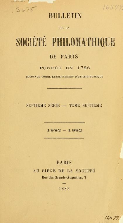 Bulletin de la Société philomathique de Paris by William L. Corbin