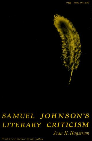 Samuel Johnson's literary criticism by Jean H. Hagstrum