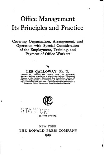 Office management, its principles and practice by Lee Galloway