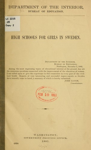 High schools for girls in Sweden by United States. Office of Education.