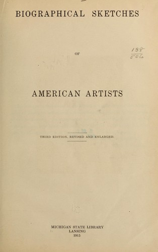 Biographical sketches of American artists.