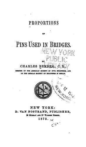 Proportions of pins used in bridges by Charles [E Bender